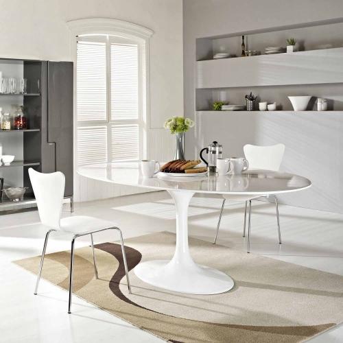 Lippa 78 Fiberglass Dining Table - White