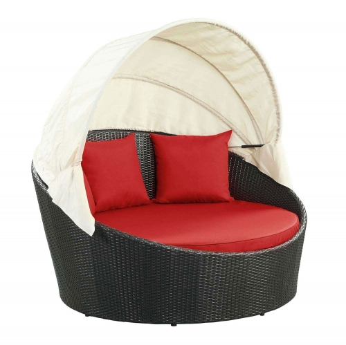 Siesta Canopy Outdoor Patio Daybed - Espresso Red