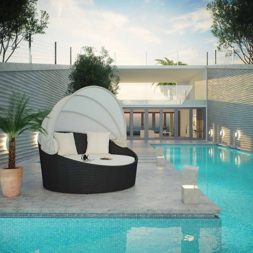 Siesta Canopy Outdoor Patio Daybed - Espresso White