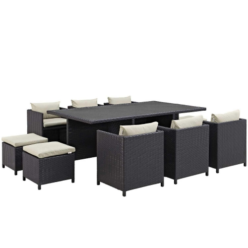 Reversal 11 Piece Outdoor Patio Dining Set - Espresso Beige