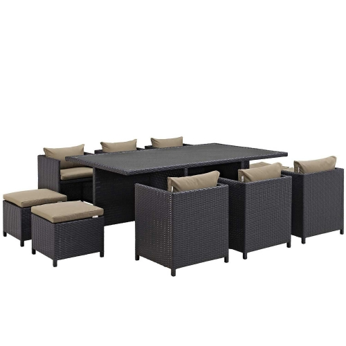 Reversal 11 Piece Outdoor Patio Dining Set - Espresso Mocha