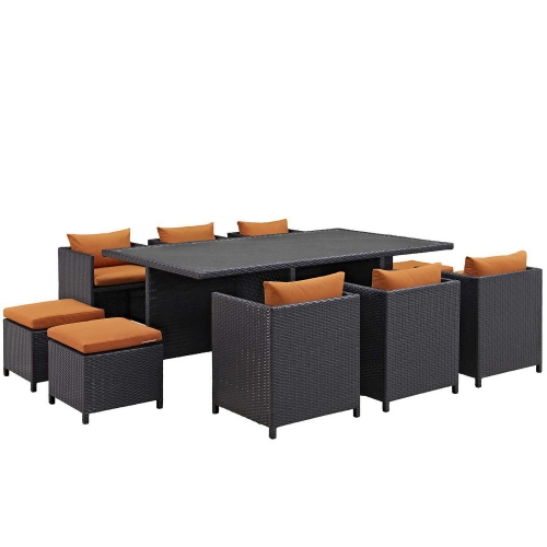 Reversal 11 Piece Outdoor Patio Dining Set - Espresso Orange