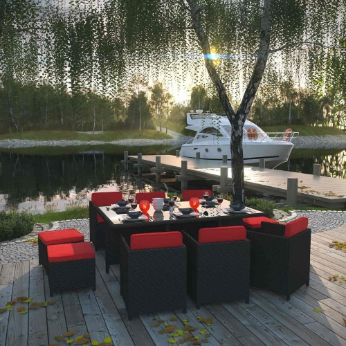 Reversal 11 Piece Outdoor Patio Dining Set - Espresso/Red