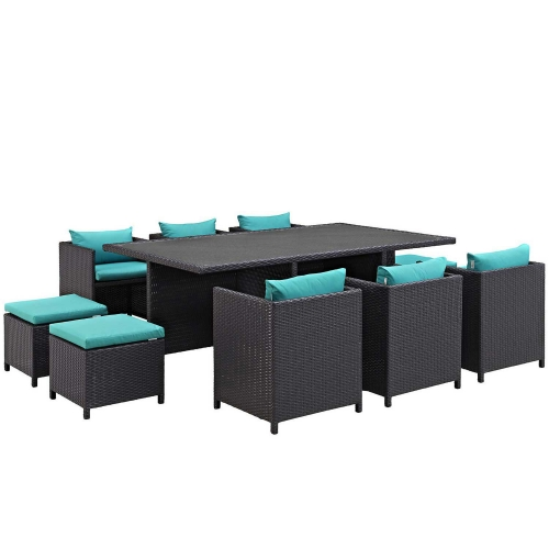 Reversal 11 Piece Outdoor Patio Dining Set - Espresso Turquoise