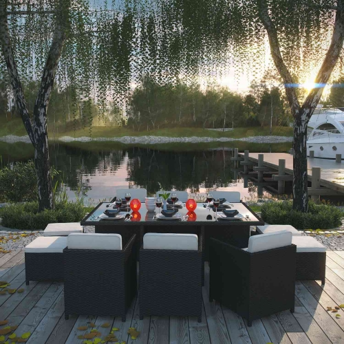 Reversal 11 Piece Outdoor Patio Dining Set - Espresso/White