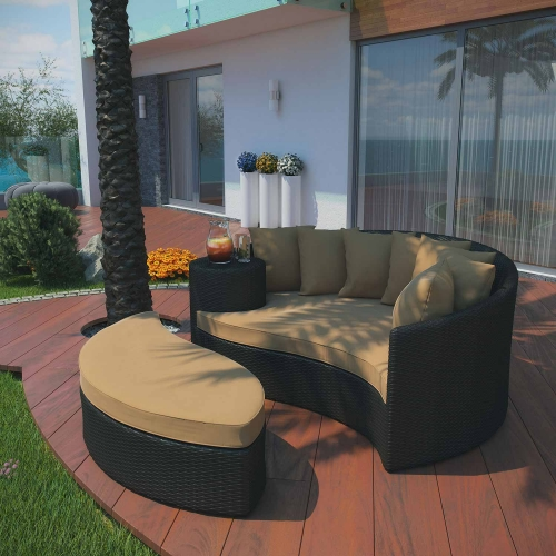 Taiji Outdoor Patio Daybed - Espresso/Mocha