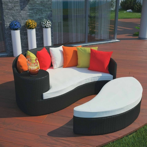 Taiji Outdoor Patio Daybed - Espresso Multicolor