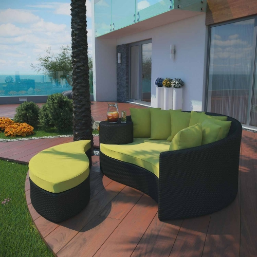 Taiji Outdoor Patio Daybed - Espresso Peridot