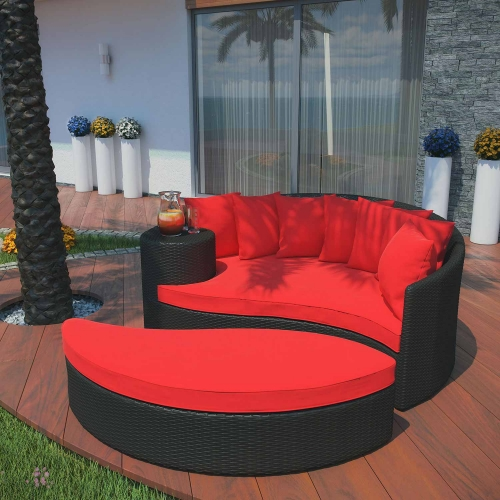 Taiji Outdoor Patio Daybed - Espresso/Red