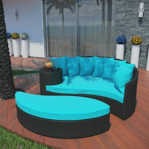 Taiji Outdoor Patio Daybed - Espresso/Turquoise