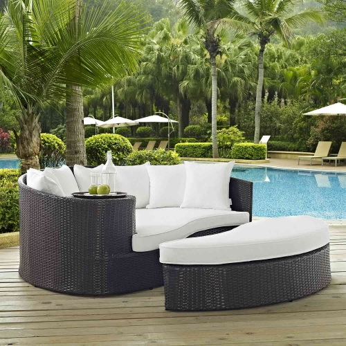 Taiji Outdoor Patio Daybed - Espresso/White