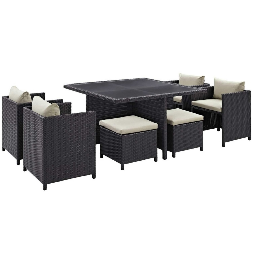 Inverse 9 Piece Outdoor Patio Dining Set - Espresso Beige