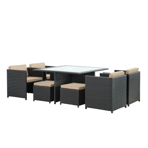 Inverse 9 Piece Outdoor Patio Dining Set - Espresso/Mocha