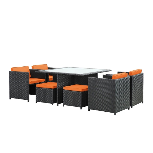 Inverse 9 Piece Outdoor Patio Dining Set - Espresso/Orange