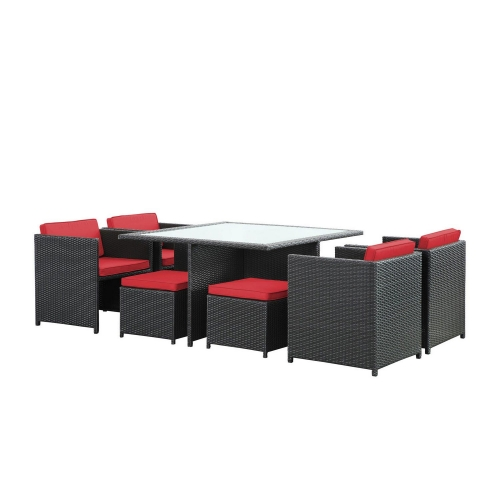 Inverse 9 Piece Outdoor Patio Dining Set - Espresso/Red