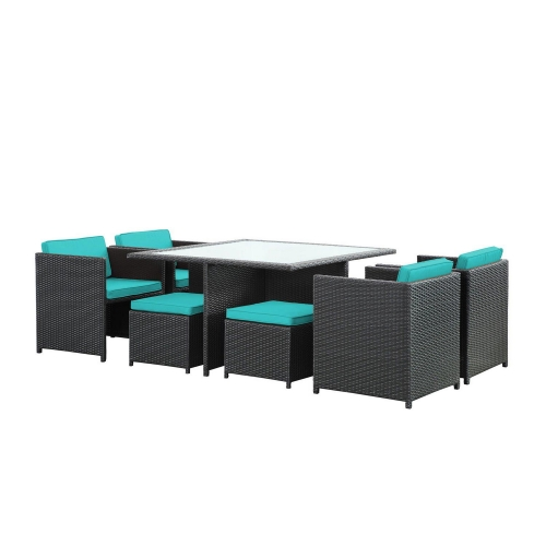 Inverse 9 Piece Outdoor Patio Dining Set - Espresso/Turquoise