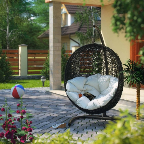 Encase Swing Outdoor Patio Lounge Chair - Espresso/White
