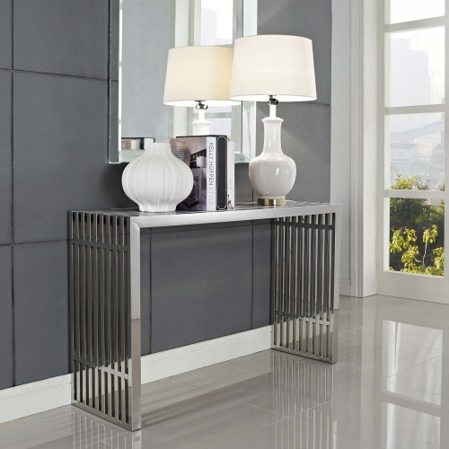 Gridiron Console Table - Silver
