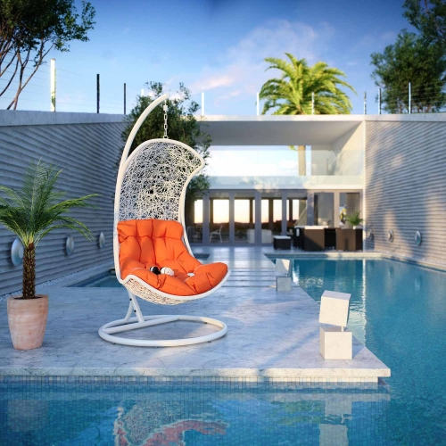 Endow Swing Outdoor Patio Lounge Chair - White/Orange