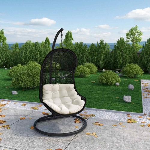 Parlay Swing Outdoor Patio Lounge Chair - Espresso/White