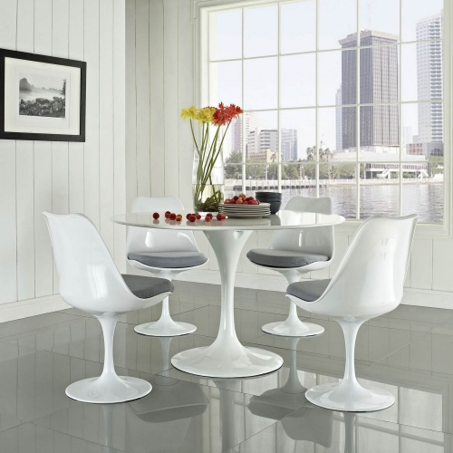 Lippa 5 Piece Fiberglass Dining Set - Gray