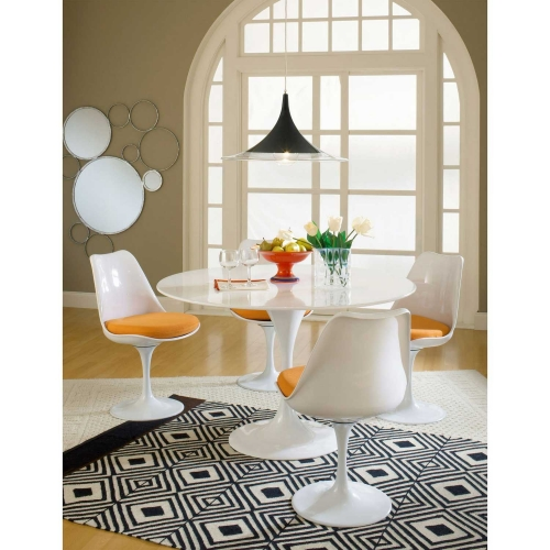Lippa 5 Piece Fiberglass Dining Set - Orange