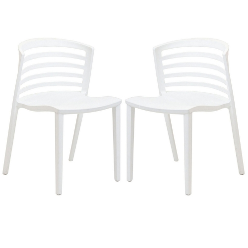 Curvy Dining Chairs Set of 2 - White