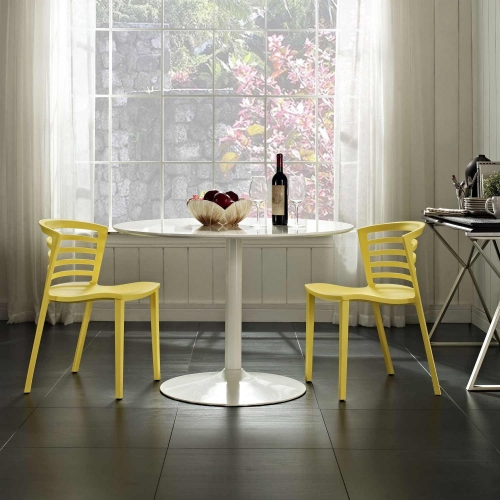 Curvy Dining Chairs Set of 2 - Yellow