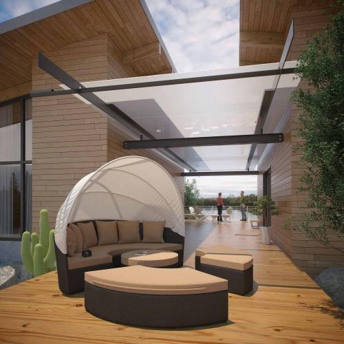 Convene Canopy Outdoor Patio Daybed - Espresso/Mocha