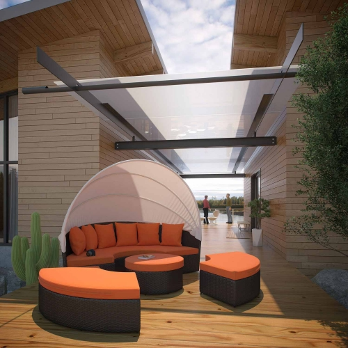 Convene Canopy Outdoor Patio Daybed - Espresso/Orange