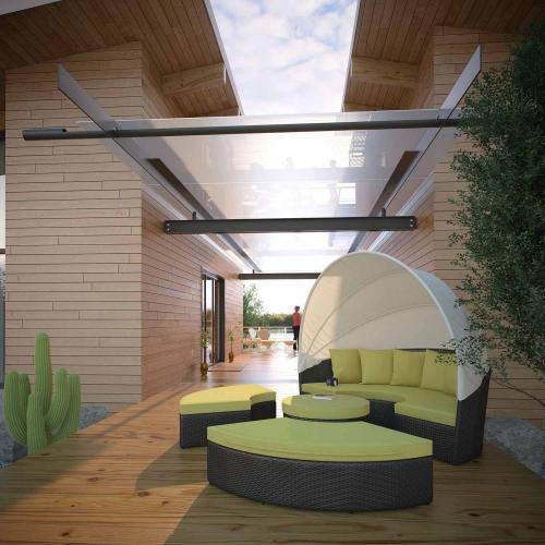 Convene Canopy Outdoor Patio Daybed - Espresso Peridot