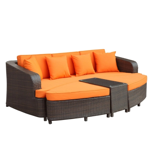 Monterey 4 Piece Outdoor Patio Sofa Set - Brown/Orange
