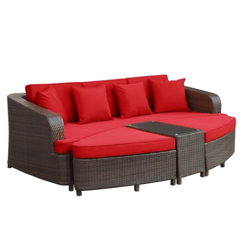 Monterey 4 Piece Outdoor Patio Sofa Set - Brown/Red