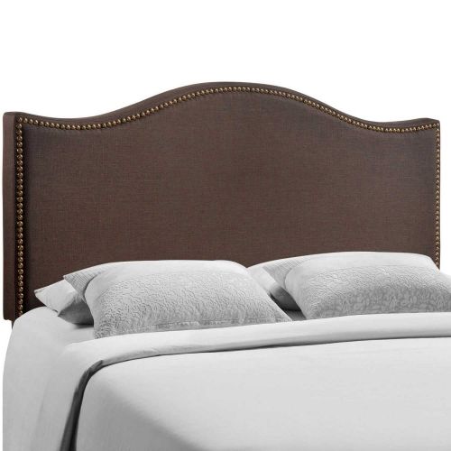 Curl Queen Nailhead Upholstered Headboard - Dark Brown