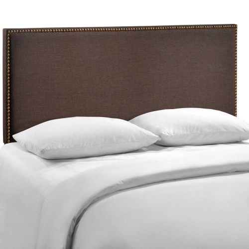 Region Queen Nailhead Upholstered Headboard - Dark Brown