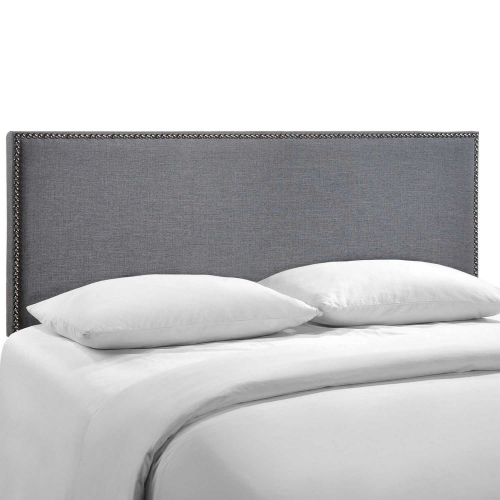 Region Queen Nailhead Upholstered Headboard - Smoke