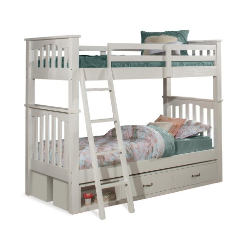 NE Kids Highlands Harper Twin/Twin Bunk Bed with (2) Storage Units - White Fniish