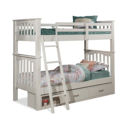 NE Kids Highlands Harper Twin/Twin Bunk Bed with Storage Unit - White Finish