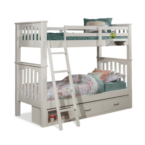 Highlands Harper Twin/Twin Bunk Bed with Storage Unit and Hanging Nightstand - White Finish