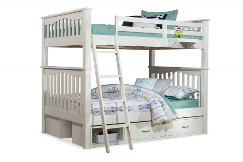 NE Kids Highlands Harper Full/Full Bunk Bed with (2) Storage Units and Hanging Nightstand - White Finish