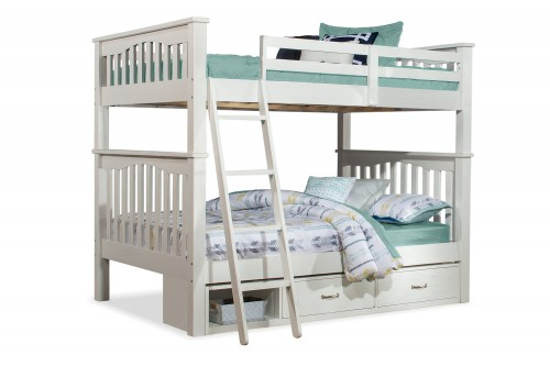 Highlands Harper Full/Full Bunk Bed with Storage Unit - White Finish