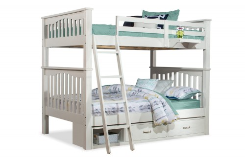 Highlands Harper Full/Full Bunk Bed with Storage Unit and Hanging Nightstand - White Finish