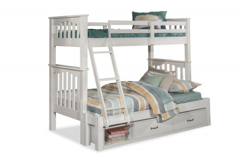 Highlands Harper Twin/Full Bunk Bed with Storage Unit - White Finish