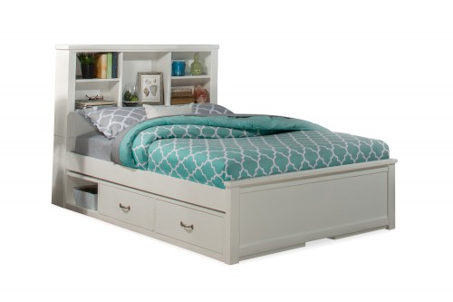 NE Kids Highlands Bookcase Bed with (2) Storage Units - White
