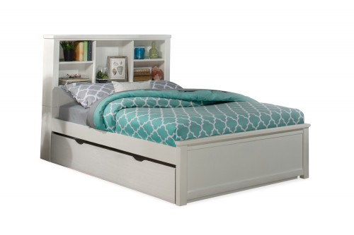 Highlands Bookcase Bed with Trundle - White