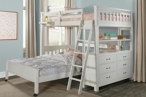 NE Kids Highlands Loft Bed with Full Lower Bed and Hanging Nightstand - White