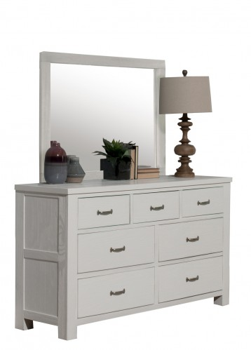 Highlands 7 Drawer Dresser with Mirror - White Finish