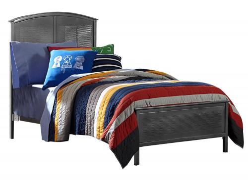 Urban Quarters Panel Bed - Black steel