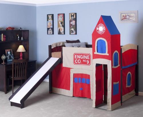 School House Junior Loft Bed with Slide - Chocolate