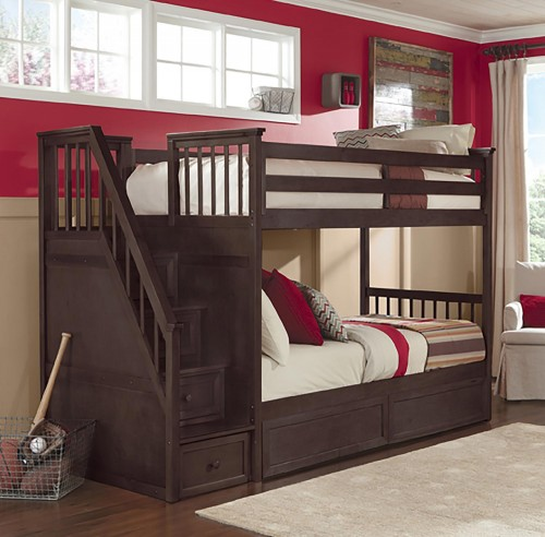 School House Stair Bunk Bed with Storage - Chocolate Finish